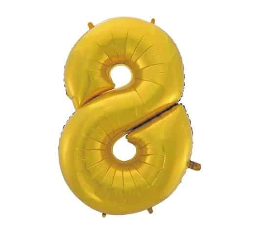 """Auksinis folinis balionas """"8"""""""