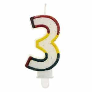 """Gimtadienio torto žvakutės """"3"""""""