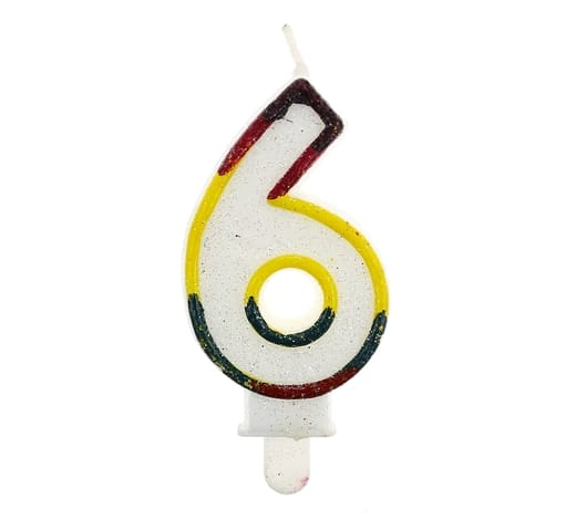 """Gimtadienio torto žvakutės """"6"""""""