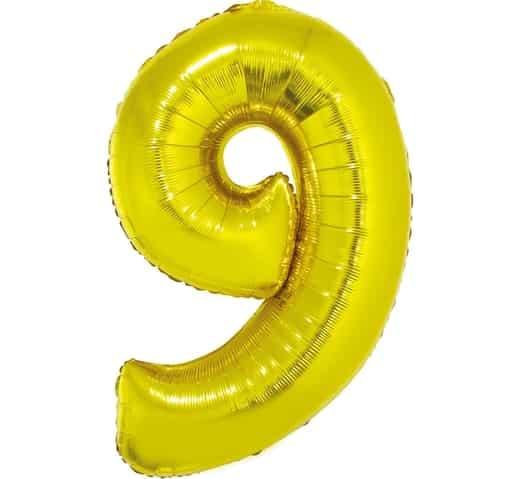 """Auksinis folinis balionas """"9"""""""