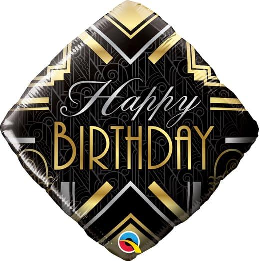 """Juodas balionas """"Happy birthday"""""""
