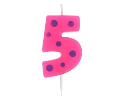 """Spalvinga torto žvakutė """"5"""""""