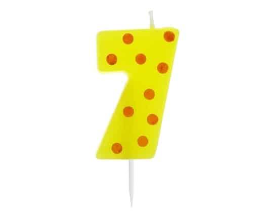 """Spalvinga torto žvakutė """"7"""""""