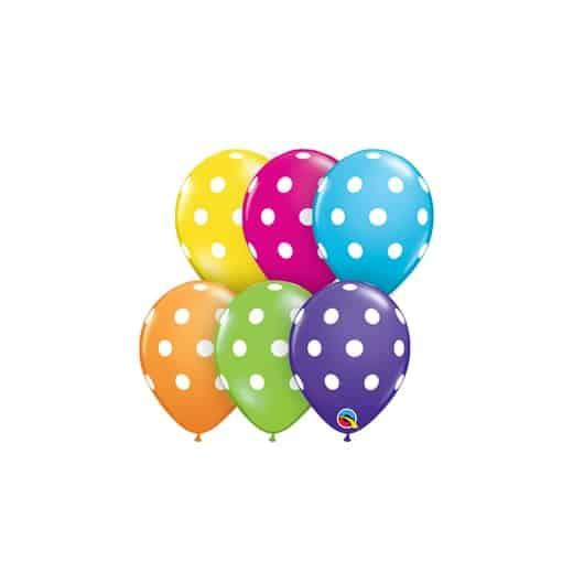 """Tai aukštos kokybės, balionai su taškeliais 12cm./05"""", jie pasireiškia ypatingu stiprumu ir kokybe, lengvai pučiasi, yra skirti pūsti tik oru. Šie balionai puikiai tiks girliandoms arba balionų figūroms modeliuoti. Pakelyje yra 100 vienetų spalvotų balionų. Dydis - 12cm./05"""" Spalva - įvairiaspalviai. Gamintojas - Qualatex. PASTABA: balionų spalvos atspalviai gali šiek tiek skirtis nuo pateikto balionų pavyzdžio, dėl kompiuterio, telefono ar kito įrenginio ekrano nustatymų."""