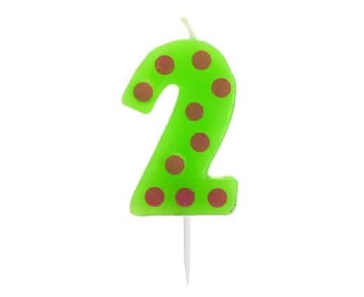 """Spalvinga torto žvakutė """"2"""""""