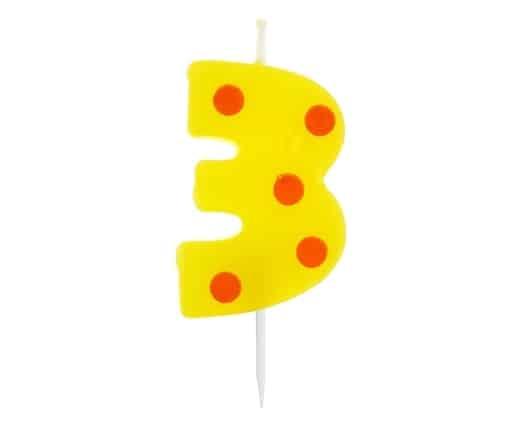 """Spalvinga torto žvakutė """"3"""""""