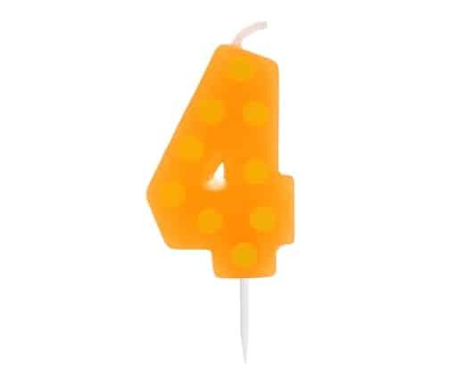 """Spalvinga torto žvakutė """"4"""""""