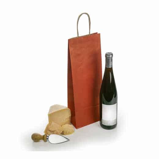 Raudonas popierinis maišelis (buteliui)