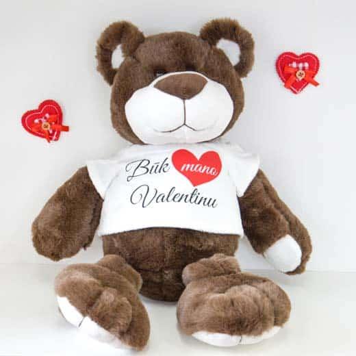 """Pliušinis meškiukas """"Būk mano Valentinu"""" 45cm."""