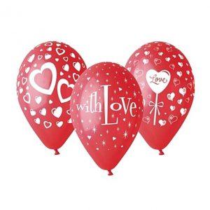 """Guminiai balionai """"With Love"""" 25vnt/30cm/12"""""""