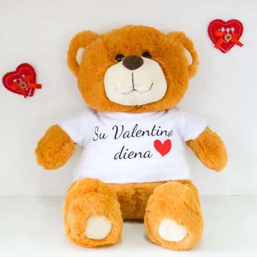 """Pliušinis meškiukas """"Su Valentino diena"""" 40cm."""