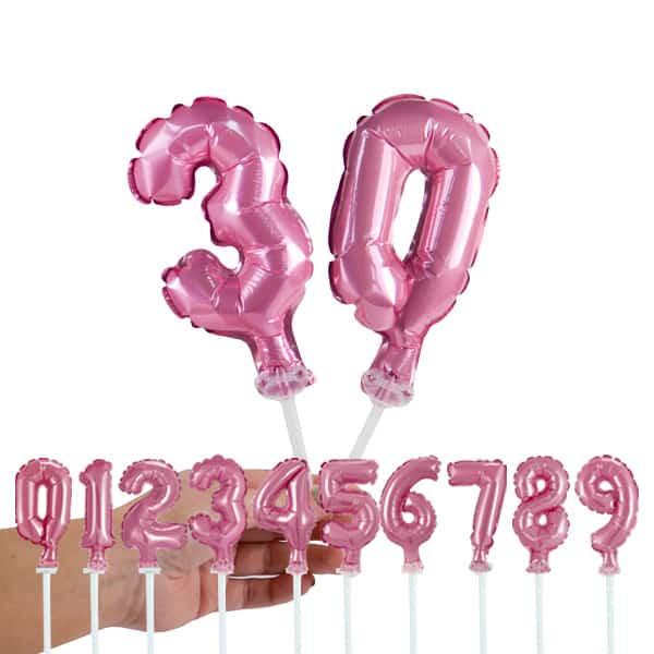 Folinis balionas skaičius ant kotelio, rožinės spalvos, 13cm dydžio