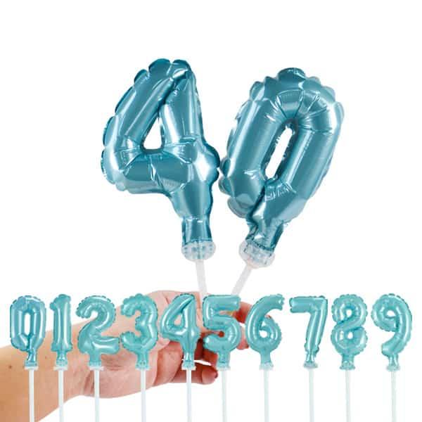 Foliniai balionai skaičiai ant kotelio, žydros spalvos, 13 cm dydžio