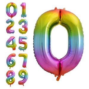 Folinis balionas skaičius. Vaivorykštės spalvų, 85cm