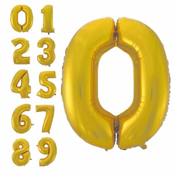 Foliniai balionai skaičiai, auksinės spalvos matinis, 92 cm dydžio