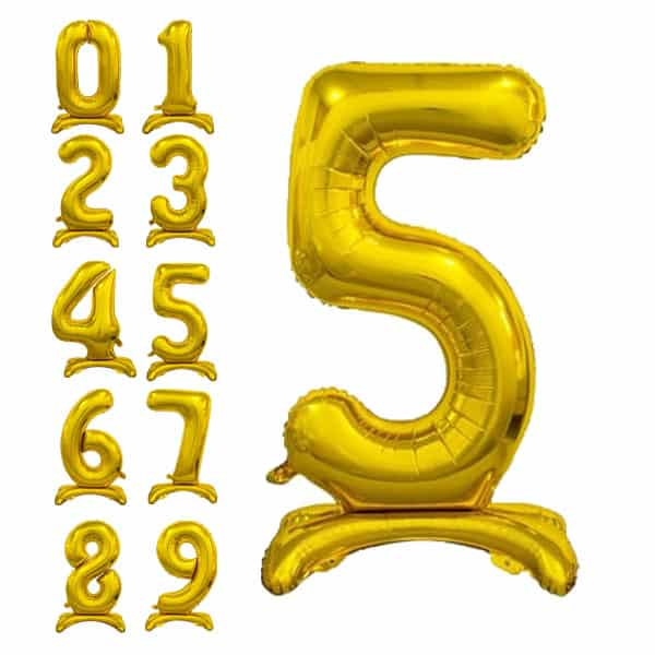 Aukso spalvos pastatomas balionas skaičius