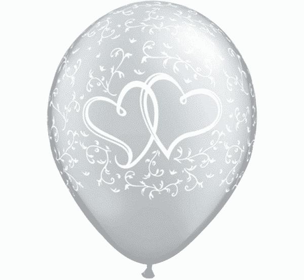 """Guminiai balionai širdelės, metalinis sidabras 11""""/25vnt"""