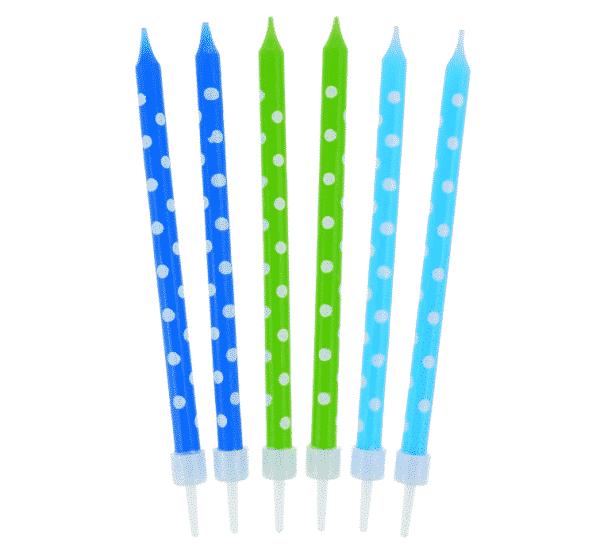 Gimtadieni žvakutės mėlyna/žalia su taškeliais, 24vnt