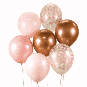 """Guminiai balionai """"Rožinė-vario puokštė 7vnt/30cm/12"""""""
