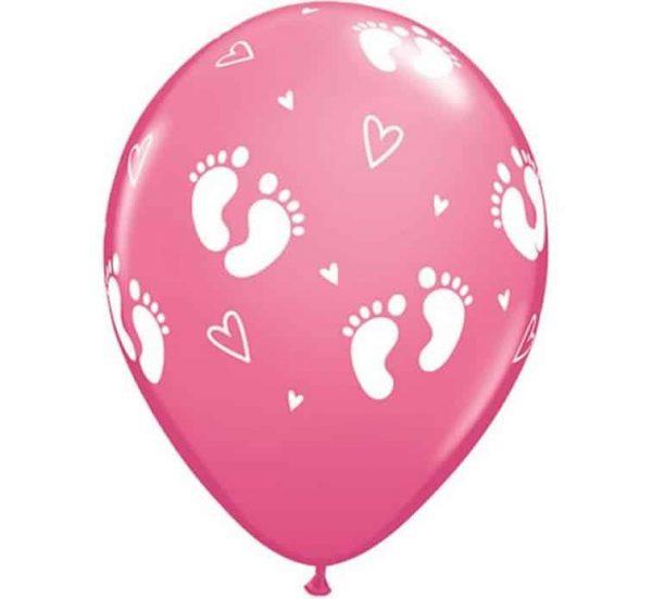 """Guminiai balionai """"Vaiko pėdos ir širdelės"""" 11""""/6vnt"""
