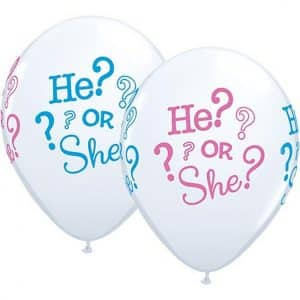 """Guminiai balionai pastelinės baltos spalvos """"Jis ar ji?"""" 11""""/25vnt"""