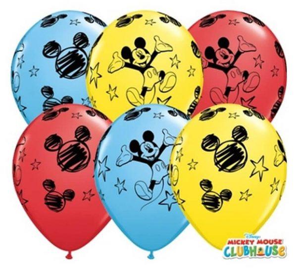 """Guminiai balionai pastelinės spalvos """"MICKEY"""" 11""""/25vnt"""