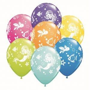 """Guminiai balionai """"Linksma undinė ir draugai"""" 11""""/25vnt"""