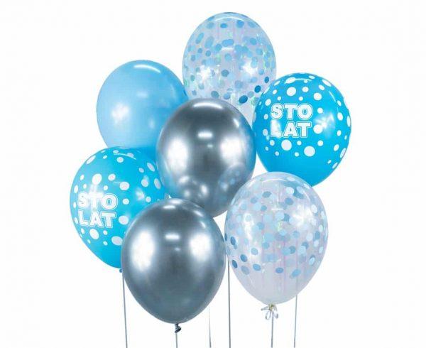 """Guminiai balionai """"Sidabrinė-mėlyna puokštė"""" 7vnt/30cm/12"""""""