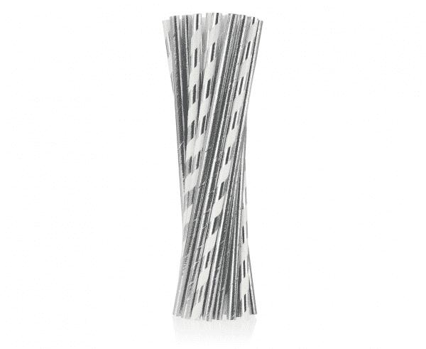Popieriniai šiaudeliai sidabrinės spalvos 24vnt