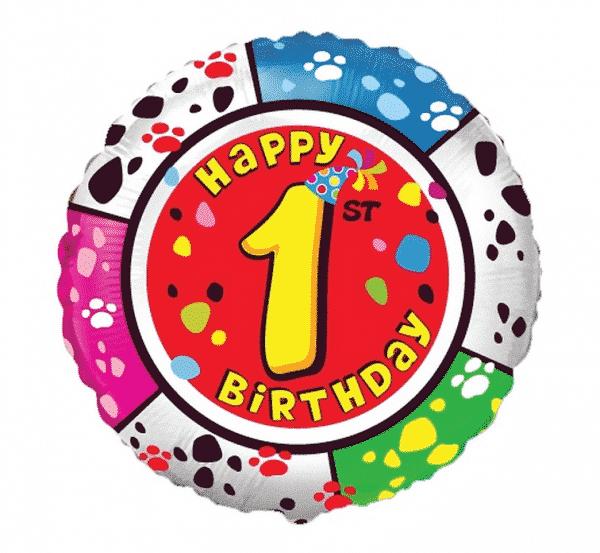"Folinis balionas ""Happy 1st. Birthday"" 18"""