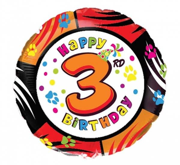 "Folinis balionas ""appy 3rd birthday"" 18"""
