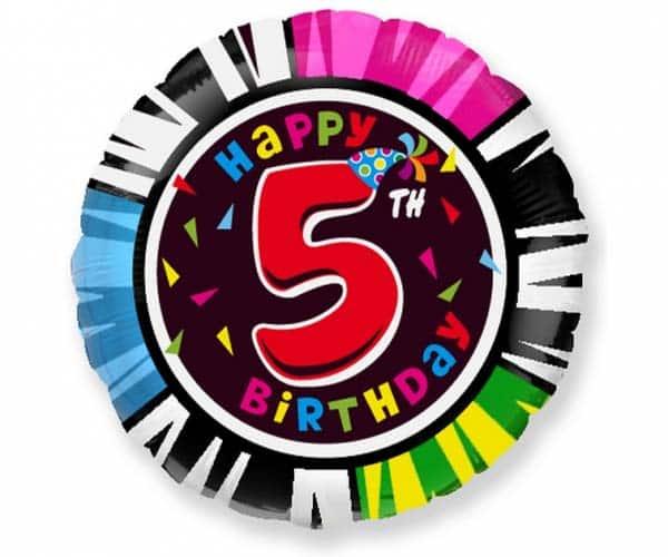 "Folinis balionas ""Happy 5th birthday"" 18"""