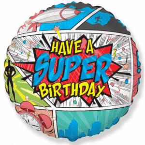 "Folinis balionas ""HAVE A SUPER BIRTHDAY"" 18"""