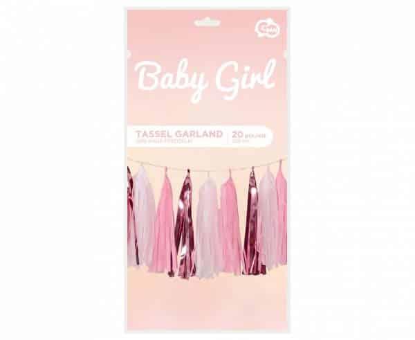 """Girlianda """"Baby girl"""" šviesiai rožinės spalvos 36x250cm/20vnt"""