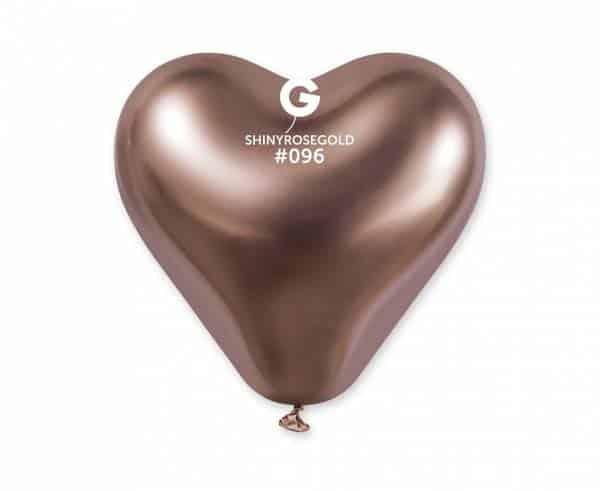 """Chrominiai guminiai balionai """"Rožinio aukso širdutės"""" 30cm/12""""/25vnt"""