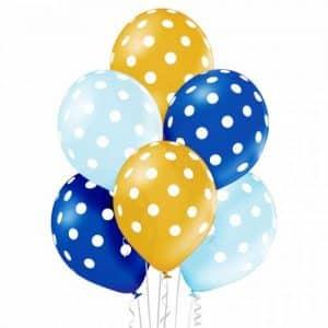 """Metalizuoti guminiai balionai su baltais taškeliais 30cm/12""""/6vnt"""