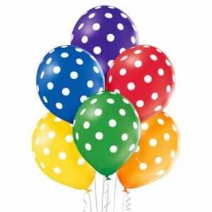 """Spalvoti guminiai balionai su baltais taškeliais 6vnt/12"""""""