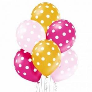 """Metalizuoti guminiai balionai su taškeliais 30cm/12""""/6vnt"""