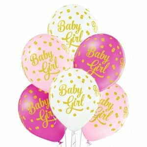 "Guminiai balionai ""Baby Girl"" 30cm/12""/6vnt"