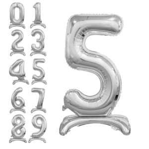 Pastatomi balionai skaičiai, sidabrinės spalvos, 38cm