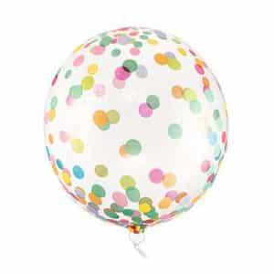 Skaidrus balionas su spalvotais taškeliais 40cm.