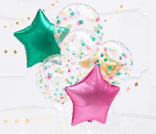 Skaidrus balionas su spalvotais taškeliais 40cm