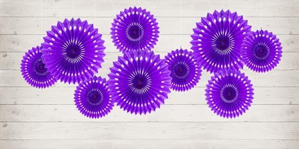 """Dekoracija """"Decorative Rosettes"""" violetinės spalvos 20/25/30cm/3vnt."""