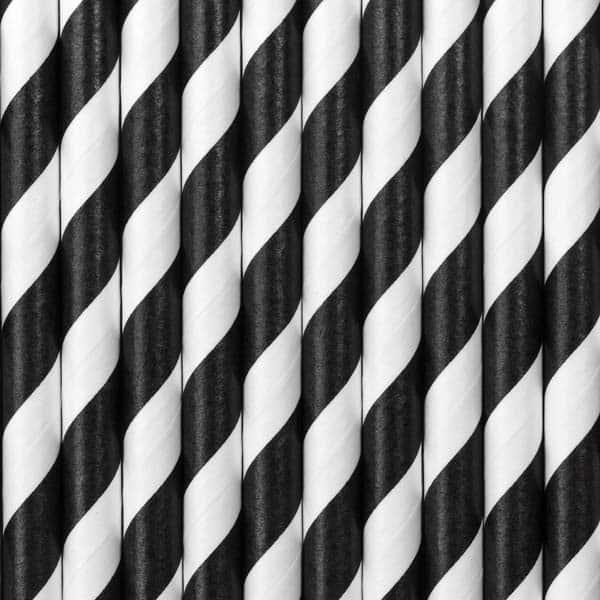 Popieriniai šiaudeliai juoda/balta 10vnt.
