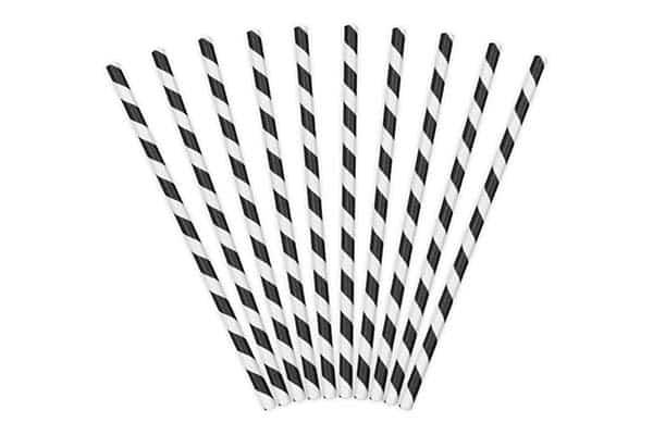 Popieriniai šiaudeliais juoda/balta 10vnt.