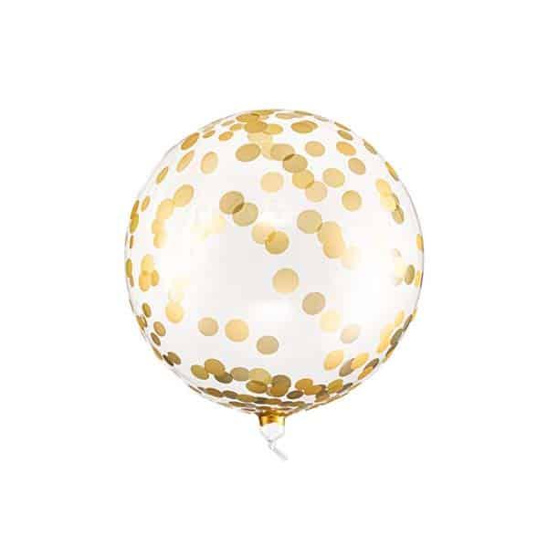 Skaidrus balionas su auksiniais taškeliais 40cm.